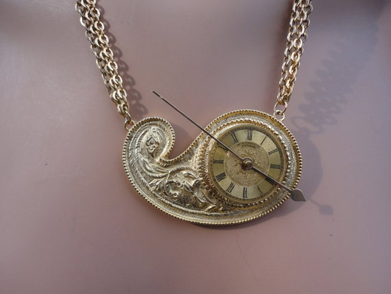 time, paisley, and gold necklace - 237