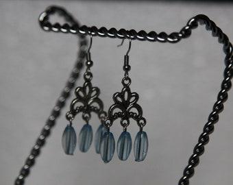 30% OFF SALE--Light blue dangling earrings