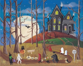 Halloween Folk Art Print ~ The House at the End of the Road ~