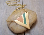 Hand painted triangle necklace - peach and green