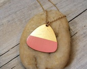 Pink dipped brass triangle necklace
