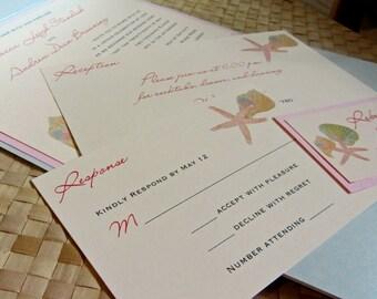 Starfish Pocket Fold Wedding Invitation, Beach Themed Wedding Invitation, Tropical Wedding Invitation