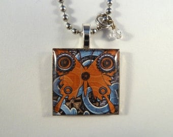 Butterfly and Gears Steampunk Style Resin Photo Art Pendant