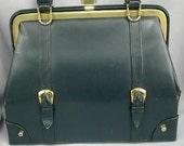 1960s Vintage Mad Men Navy Blue Handbag with Retro Buckles