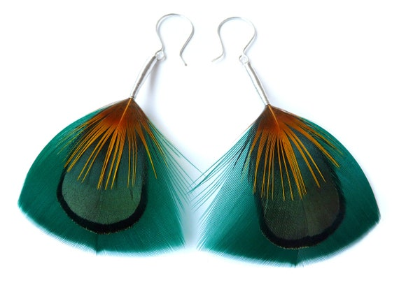 Iridescent Feather Earrings in Deep Teal, Green and Yellow - READY TO SHIP
