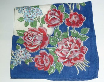 Vintage Blue and Pink Rose 1950s Handkerchief