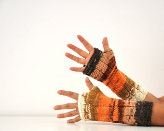 Long Fingerless Gloves Armwarmers Mittens Brown Orange Ivory Multicolor Hand Knit Winter Accessories Winter Fashion