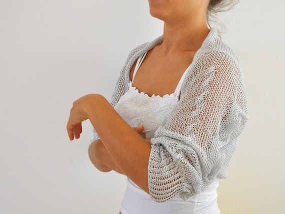 Luxury Shrug Bolero Bridal Shrug Cashmere Silk Blend Pale Grey Gray 3/4 Sleeves Bridal Accessories Elegant Wedding MADE TO ORDER