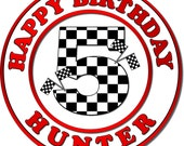 Custom Checkered Flags Motif Race Car Stickers. Race Car Birthday Party.  Racing Stickers. Age Stickers. Choose Size