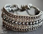 Limited Edition Black Hematite Stone Beaded Leather Cuff Bracelet