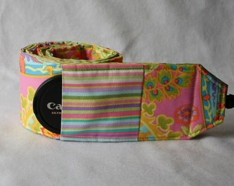 Ready to ship Monogramming not avaliable Wide Camera Strap for DSL camera Pastel Paisley with stripe reverse and lens cap pocket