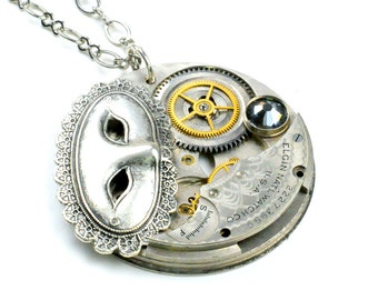 1919 Elgin Pocket Watch n Masquerade Mask Steampunk Necklace