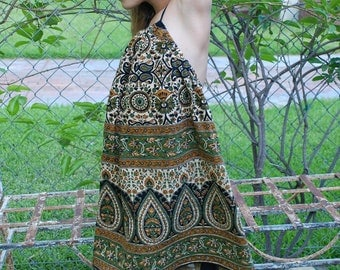 Hippie Chick Halter Tunic Dress - Gold Green Kalamkari Tier Drop   - size 6 - 7  can fit many sizes - read measurements