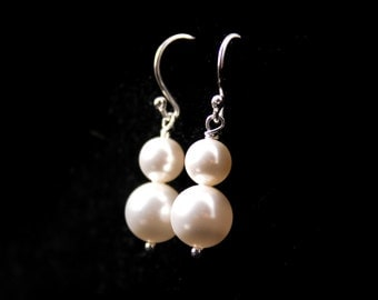 Wedding Jewelry Double Pearl Earrings Simplicity