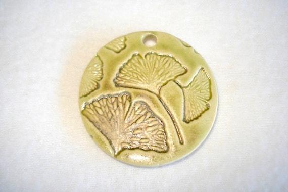 Handmade Green Porcelain GINGKO Leaf Pendant