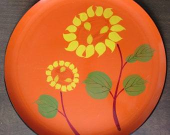 Vintage Laquer Ware Circular Tray with Sunflowers