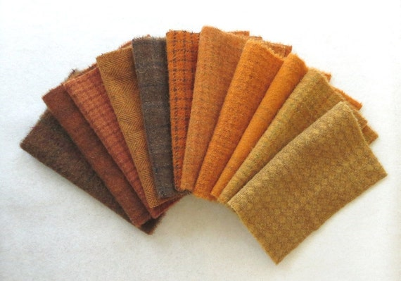 Hand Dyed Felted Wool in a Beautiful Autumn Collection of Orange and Brown Tones a Perfect Rug Hooking and Applique Wool 2831C