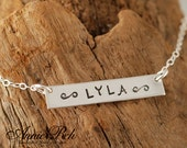 Personalized Necklace, Sterling Silver Rectangular Bar, Mother Jewelry, Hand Stamped
