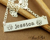 Personalized Necklace, Sterling Silver Rectangular Bar, Mother Jewelry, Hand Stamped Jewelry, Shamrock, Good Luck