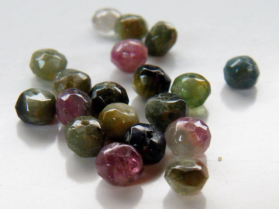 Tourmaline Stone Beads 3x4mm 20 Faceted Rondelle Beads