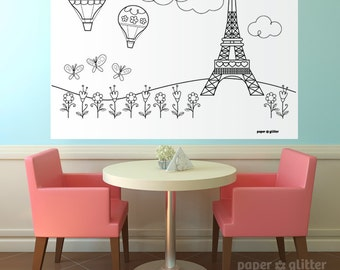 Paris Ooh La La Party Printable Decoration or Coloring Sheet Backdrop Printable Wall Decor  3 x 4 feet - Editable Text Printable PDF 1060
