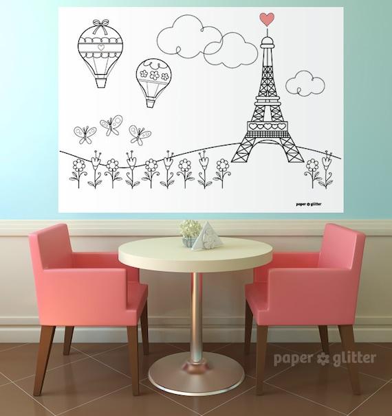Paris Ooh La La Party Printable Decoration or Coloring Sheet Backdrop Printable Wall Decor  3 x 4 feet - Editable Text Printable PDF 1060