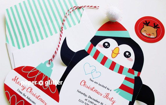 Penguin Invitation or Card for Christmas  / Holiday Party and Envelope Set circle stickers and ornaments with Editable Text Feature-You 0099