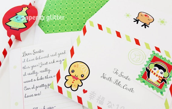 Christmas Stationery Notes and Envelope Set with circle stickers and stamps  Editable Text Feature-You type in the text to personalize 0031
