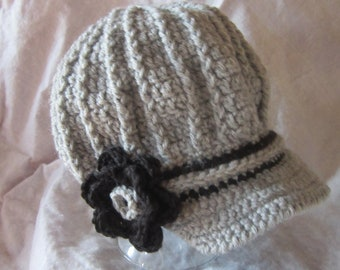 Womens Newsboy hat with brim with flower cap Fashion
