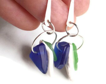 Unique Sea Glass Earrings Blue, White & Green Sea Glass and Sterling Silver