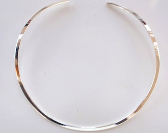 Sterling Silver Choker for Pendants, Charms Or Alone, Open Back Collar