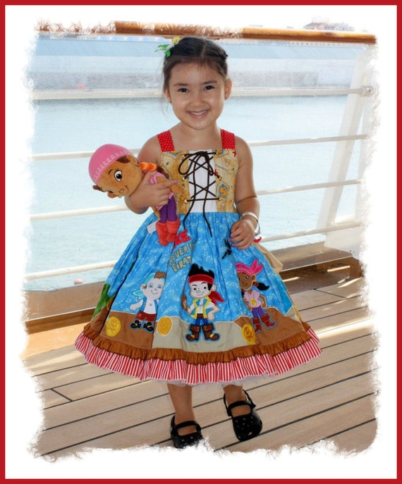 Layla and Stitch Neverland Inspired Applique Pirate dress.  Available in sizes 3T - child size 10