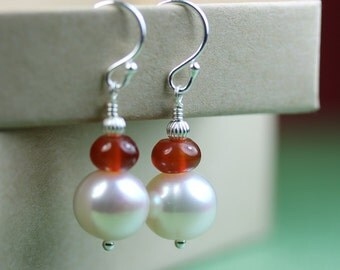 Pearl Earrings with Carnelian, Sterling Silver French Hooks, white and red, dangle earrings, drop pearl, Free shipping in Canada, by art4ear