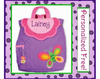36 Fonts- Personalized Toddler BUTTERFLY Quilted Toddler Backpack- Preschool, Diaper Bag