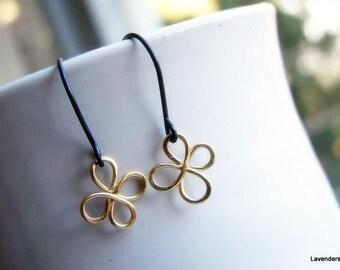 Clover Earrings in Gold Fill and Oxidized Sterling Silver , Dangle Earrings Handmade Mixed Metal Earrings st patricks day Shamrock earrings