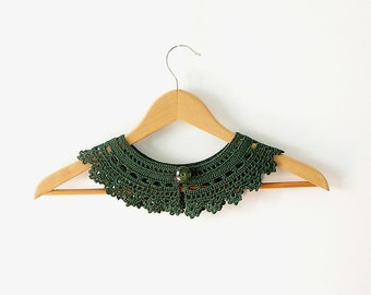 Bottle Green Lace Collar Necklace