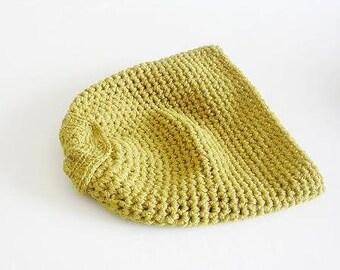 Mustard Slouchy Beanie Crochet Hat ooak
