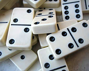 Vintage dominos, 28 large dominos, game pieces, jewelry supply, mixed media supply, altered art supply, black and white, domino set