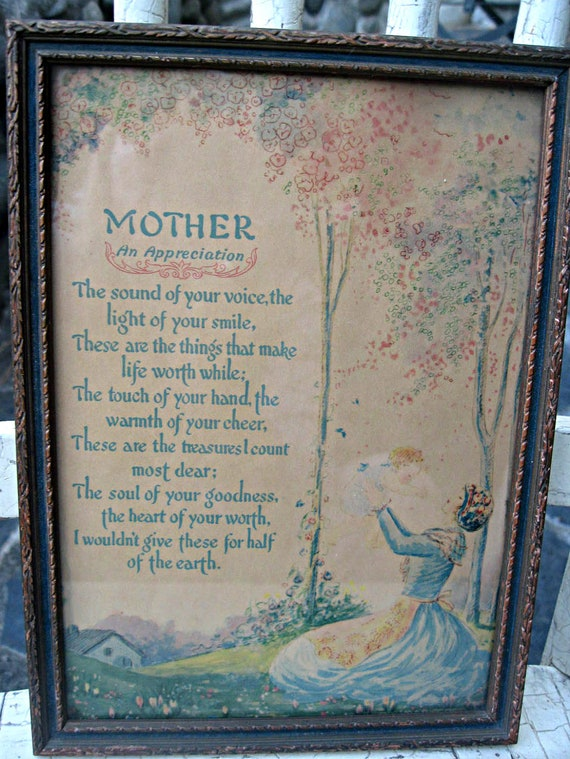 Vintage framed Mother print, muted colors, frame with blue edges, gift for Mom