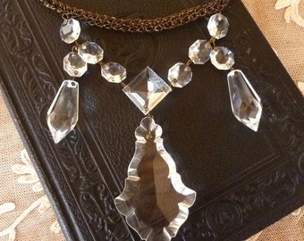 Knitted Wire Necklace with Vintage Chandelier Prisms