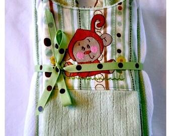 Minky Baby Bib, Onesie and Burp Cloth Set Embroidered Monkey Applique