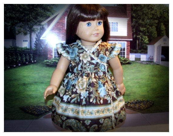Wrap Dress for American Girl 18 Inch Doll Period Style