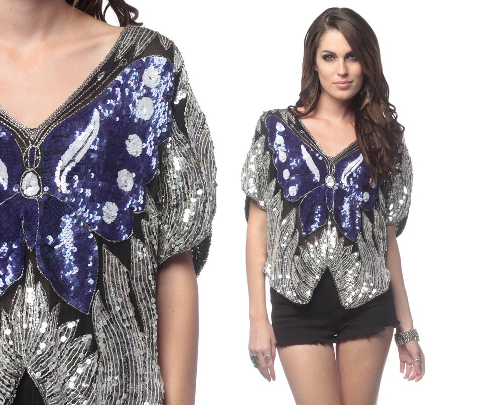 Butterfly Sequin Top Silver Metallic 70s Disco 80s Glam Purple