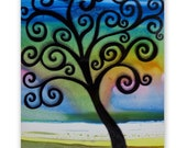 Watercolor Original Painting on Paper Vivid Colorful Tree Frameable