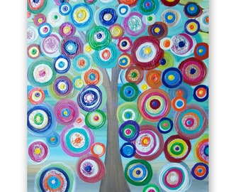 Childrens Canvas Wall Art Abstract Acrylic Painting on 20Lx16W Canvas Beautiful Colors and Texture