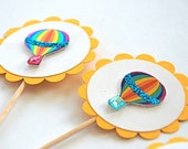 Hot Air Balloons Cupcake Toppers. Hot Air Balloon Baby Shower. Hot Air Balloon Birthday Party. Hot Air Balloon Decorations. Glittery Balloon