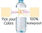 waterproof water bottle labels - custom wedding favors (design13) starfish beach personalized