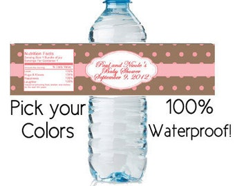 water bottle labels waterproof - custom baby shower favor girl (design26) 8x2 inch pink brown polka dots personalized