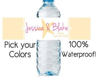waterproof water bottle labels - custom wedding favors (design13) starfish beach personalized