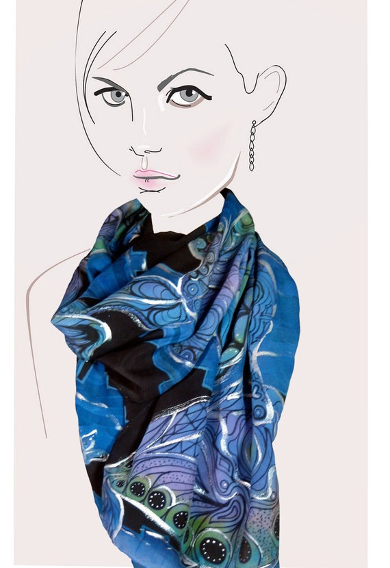 Black and Blue with Silver metallic, hand painted silk scarf:  Urban Lullaby